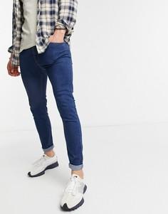 Темно-синие джинсы скинни Bershka-Голубой