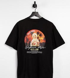 Черная oversized-футболка с принтом заката на спине Sixth June – эксклюзивно для ASOS-Черный цвет