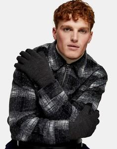 Темно-серые перчатки для сенсорных экранов Topman-Серый