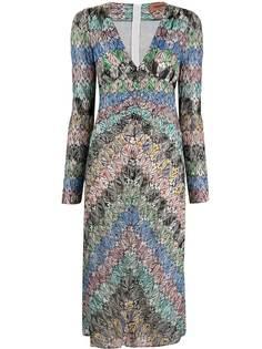 Missoni платье с V-образным вырезом и эффектом металлик