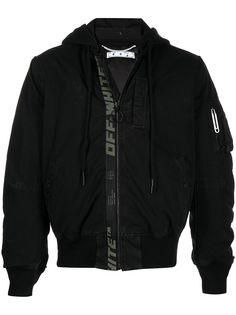 Off-White куртка-бомбер со сборками и логотипом