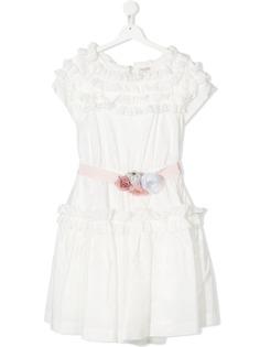 Monnalisa платье с цветочной аппликацией и оборками