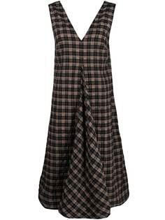 GANNI клетчатое платье миди из сирсакера