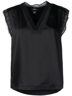 DKNY блузка с V-образным вырезом и кружевом