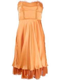 Moschino платье без бретелей с оборками