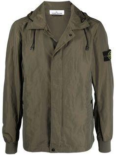 Stone Island куртка-рубашка с капюшоном и нашивкой-логотипом