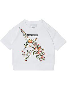Burberry Kids футболка с цветочным принтом