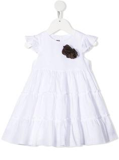 Little Bear ярусное платье с цветочной аппликацией