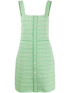 Sandro Paris твидовое платье с квадратным вырезом
