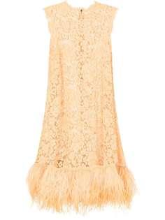 Dolce & Gabbana ярусное платье с перьями