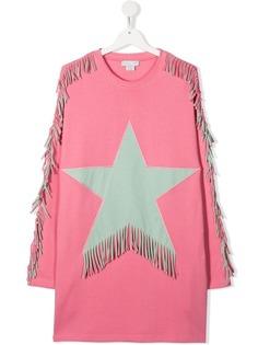 Stella McCartney Kids платье с аппликацией и бахромой