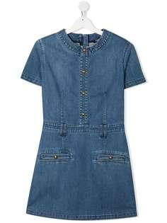 Balmain Kids джинсовое платье с короткими рукавами