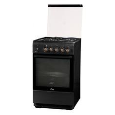 Газовая плита FLAMA L RK 23-126 At, электрическая духовка, стеклянная крышка, антрацит