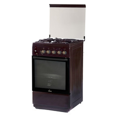 Газовая плита FLAMA L RK 23-126 B, электрическая духовка, стеклянная крышка, коричневый