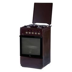 Газовая плита FLAMA L FK 2212 B, электрическая духовка, металлическая крышка, коричневый