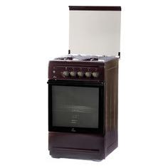 Газовая плита FLAMA N FG 24239 B, газовая духовка, стеклянная крышка, коричневый