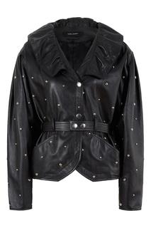 Черный кожаный жакет с заклепками Isabel Marant