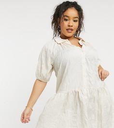 Кремовое свободное платье Lola May Curve-Белый
