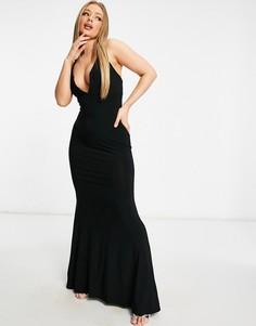 Черное платье макси с глубоким вырезом, перекрестными бретельками наспине и юбкой годе Club L London-Черный цвет