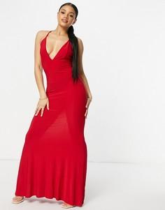 Красное платье макси с глубоким вырезом, перекрестными лямками на спине и юбкой годе Club L London-Красный