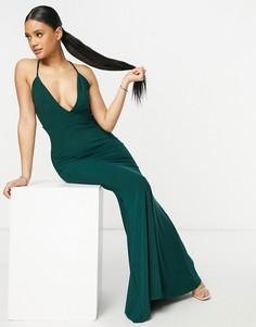 Зеленое платье макси с глубоким вырезом, перекрестными лямками на спине и юбкой годе Club L London-Зеленый цвет