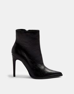 Черные ботинки с заостренным носом Topshop-Черный цвет