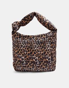 Сумка-хобо изнейлона с декоративным узлом и леопардовым принтом Topshop-Коричневый цвет