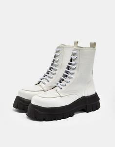 Белые ботинки на шнуровке смассивной подошвой Topshop VERITY-Белый