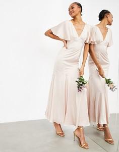Розовое атласное платье макси с рукавами клеш ASOS EDITION-Розовый цвет
