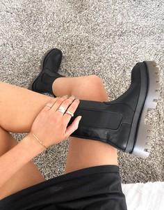 Черные ботинки без застежки на массивной контрастной подошве Bershka-Черный цвет