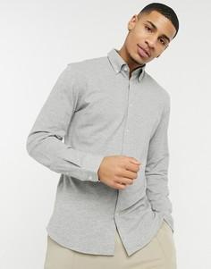 Серая трикотажная рубашка Selected Homme-Серый