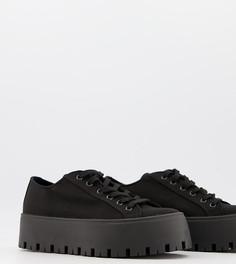 Черные парусиновые кроссовки для широкой стопы на массивной подошве ASOS DESIGN Devoted-Черный цвет