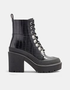 Черные ботинки на каблуке и платформе со шнуровкой и крокодиловым принтом Topshop-Черный цвет