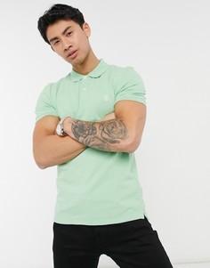 Футболка-поло с вышивкой Selected Homme-Зеленый цвет