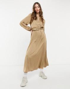 Золотистое платье макси из шелковистой ткани с объемными рукавами Selected Florenta-Коричневый цвет