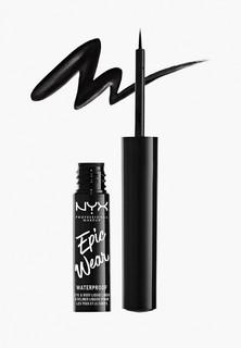 Подводка для глаз Nyx Professional Makeup водостойкая матовая EPIC WEAR EYE & BODY LIQUID LINER, оттенок 01, BLACK, черный, 3.5 мл