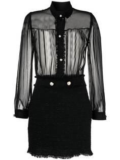 Pinko твидовое платье мини с прозрачными вставками