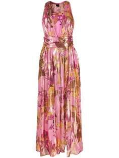 Pinko платье макси с цветочным принтом и эффектом металлик