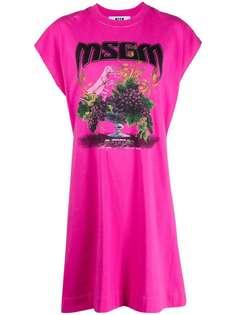 MSGM платье-трапеция с графичным принтом