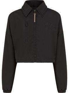 Fendi укороченная куртка с тисненым логотипом