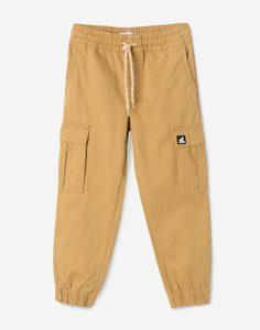 Бежевые джинсы Jogger с карманами-карго для мальчика Gloria Jeans