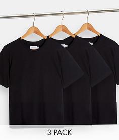Набор из3черных классических футболок Topman-Черный цвет