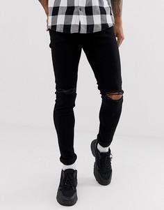 Черные зауженные эластичные джинсы с рваной отделкой на коленях Topman-Черный цвет