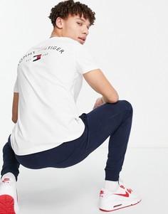 Белая футболка с принтом в виде логотипа-флага на спине Tommy Hilfiger-Белый
