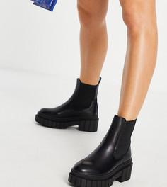 Черные ботинки челси на массивной подошве Public Desire Wide Fit Zenya-Черный цвет