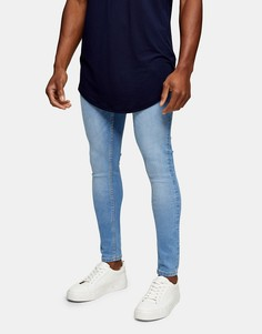 Светлые выбеленные джинсы с напылением Topman-Голубой