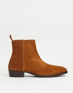 Светло-коричневые ботинки на кубинском каблуке Topman-Коричневый цвет