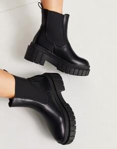 Черные массивные ботинки челси Public Desire Zenya-Черный цвет