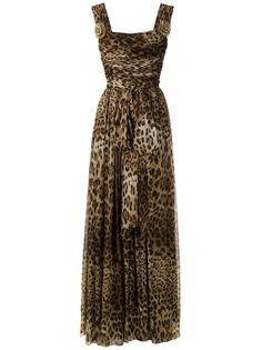 Dolce & Gabbana расклешенное платье с леопардовым принтом
