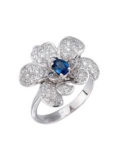 Carrera Y Carrera кольцо из белого золота с бриллиантами и сапфиром
